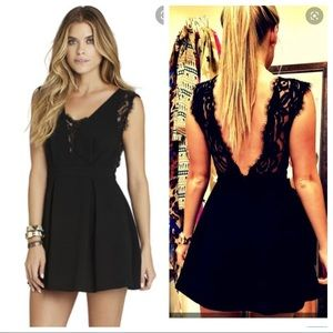 BCBG Generation lace inserted V-back dress